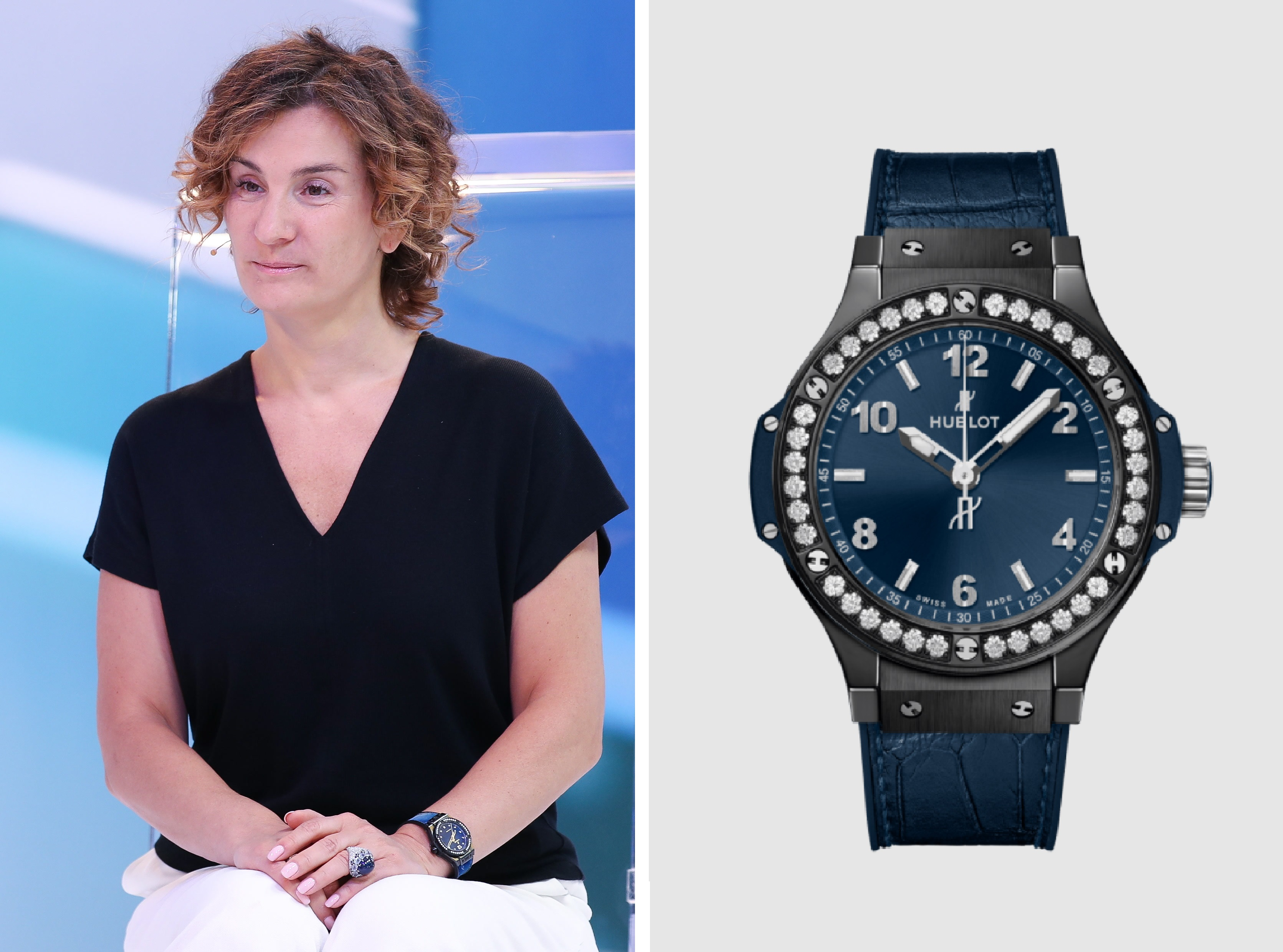 Юлиана Слащева вHublot Big Bang Ceramic Blue Diamonds