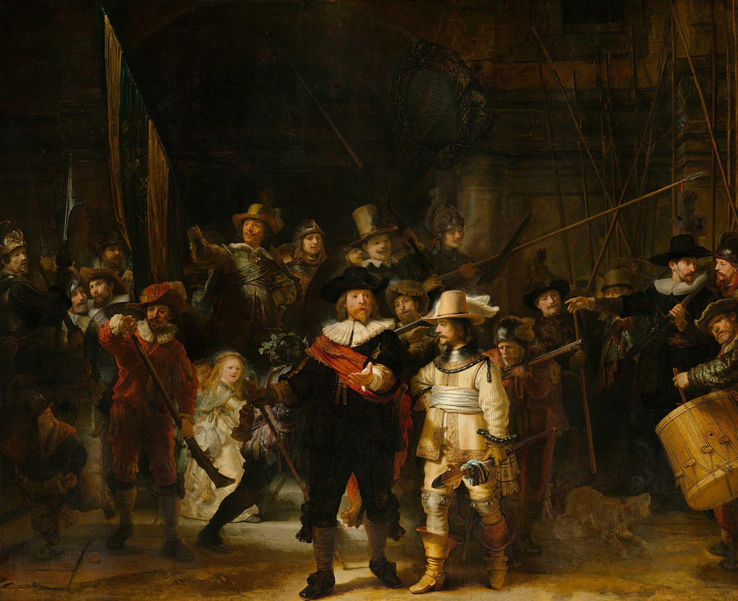 «Ночной дозор» («Выступление стрелковой роты капитана Франса Баннинга Кока илейтенанта Виллема ван Рёйтенбюрга»), Рембрандт, 1642 г.