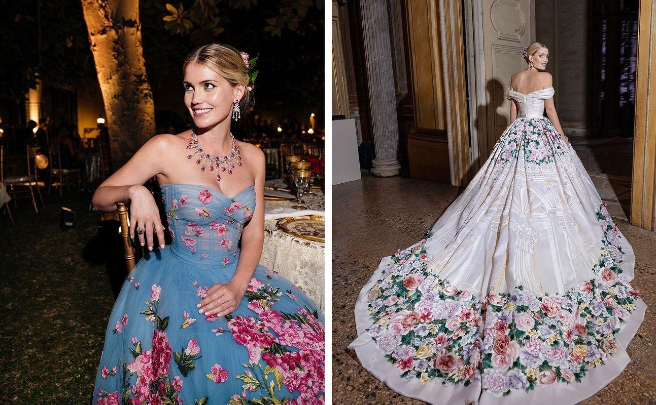 Китти Спенсер вплатьях, созданных Dolce & Gabbana кее свадьбе