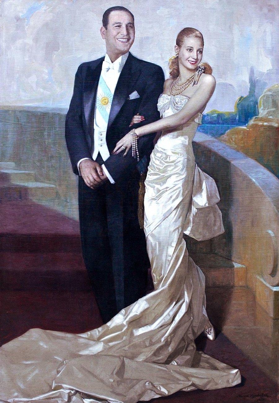 Парадный портрет Хуана Перона вместе сженой Эвой, 1948 год