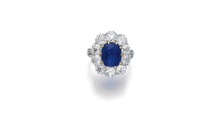 Помолвочное кольцо ссапфиром вокружении бриллиантов, конец XIX века