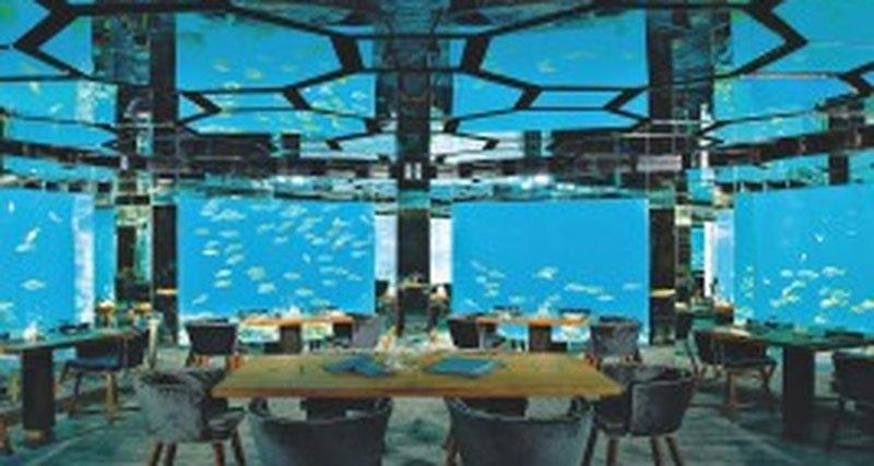 Подводный ресторан отеля Anantara Kihavah Villas